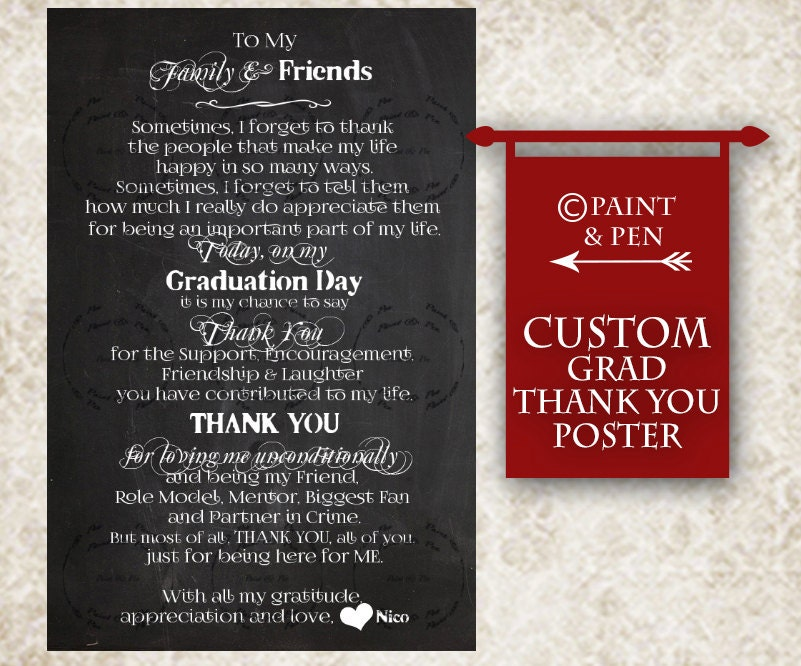 Custom MINI Thank You Cards Graduation Handouts College Grad