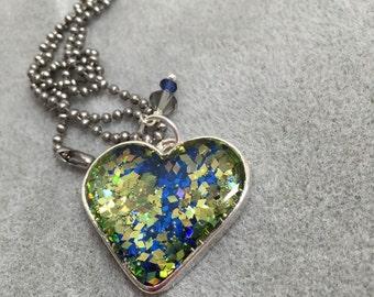 Seahawks inspired glitter resin heart pendant