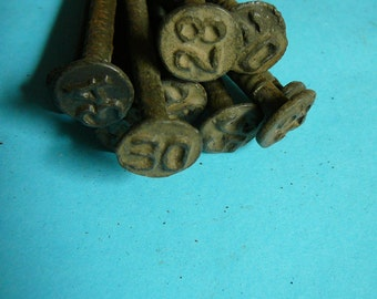RAILROAD DATE NAILS - 1920's and 30's Date Nails (Lot of 10)