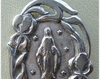 "Art Nouveau French Silver Vintage Virgin Mary Religious Medal Pendant on 18"" sterling silver rolo chain"