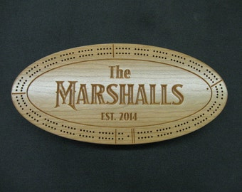 "Personalized Cribbage Board - Custom Cribbage Board - Cribbage Board - 16"" x 7 1/2"""
