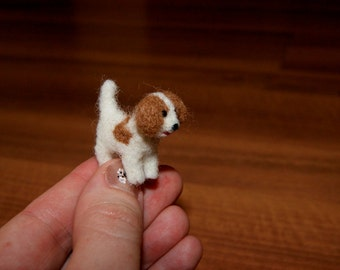 Felted dog, dog miniature, cake topper, natural wool toy, tiny soft sculpture, needle felted dog, white dog