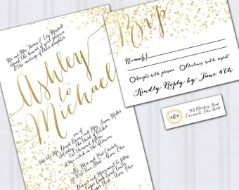 Gold Foil Look Wedding Invitations, Confetti Invites, Metallic Look Wedding Invitation, Outdoor Wedding, On a Budget