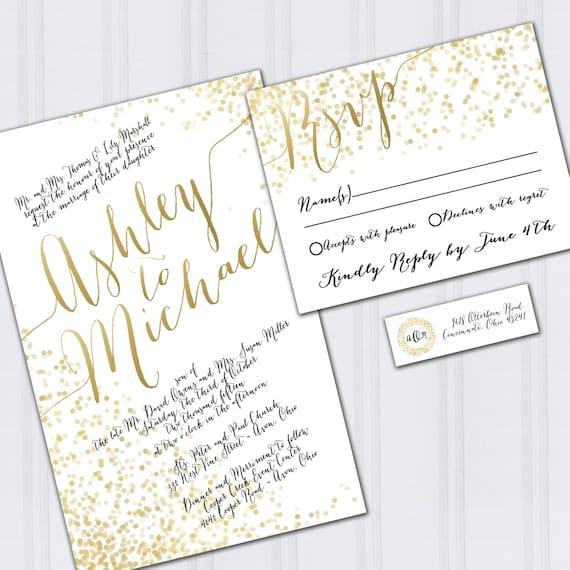 Gold Foil Wedding Invitations: Confetti Wedding Invitations Gold Foil Look Invites Metallic