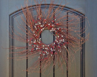SALE Was 50.00 Now 30.00 Spring Summer Wreath Red White Blue Berry July Fourth Memorial Day Patriotic Twig Grapevine Door Wreath Decor