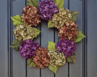 Hydrangea Wreath Summer Wreath Fall Wreath Grapevine Door Wreath Purple Green Brown Hydrangea Floral Door Decoration Indoor Outdoor Decor
