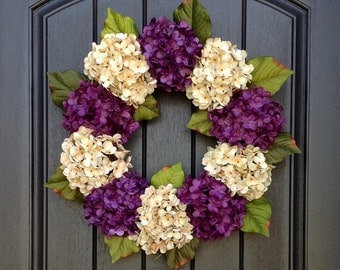 Hydrangea Wreath Spring Wreath Summer Wreath Grapevine Door Wreath Purple Cream Hydrangea Floral Door Decoration Indoor Outdoor
