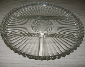 Crystal Relish Veggie Tray Anchor Hocking Glass Co Queen Mary 1936-1946