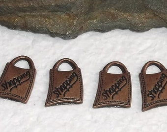 24 Antiqued Bronze Shopping Bags Charms/Pendants