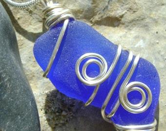 Handmade Seaglass Jewelry: Blue Seaglass Necklace
