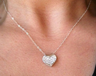 Heart Necklace in Sterling Silver. Silver Heart Necklace. Heart Charm Necklace. Bridesmaid. Wedding.Christmas Gift.Sister.Mom.Daughter.Wife.