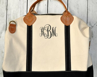 Large Canvas Duffle Bag Monogrammed