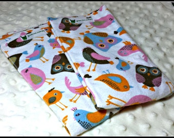 Colorful bid and owl print flannel burp cloth duo