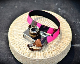 iMo Camo Pink camera strap suits for DSLR / SLR with quick release buckles
