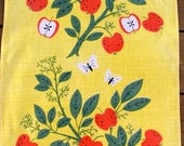 1950s Mid Century Vintage Linen Apple Tree Towel, by Ivan Bartlett
