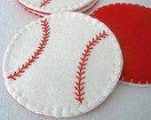 Felt Baseball Coasters,  MugMats Set of Four,  Hostess Gift,  Sports Bar Accessories, Father's Day, HandStitched