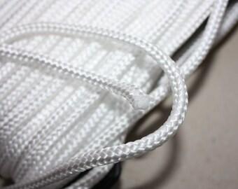 5 mm Braided Cord Nylon - 1 Spool - 15 Yards Elegant Rope - White