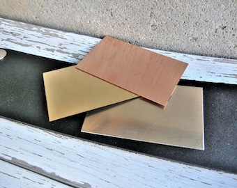 """Extra Large BRASS Blank - 1.5"""" x 2.5"""" Metal Blank for Hand Stamped Jewelry- Use on Leather Cuffs or ID Bracelets- 22gauge - 3 Pack"""