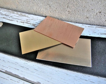 "Extra Large COPPER Blank - 1.5"" x 2.5"" Metal Blank for Hand Stamped Jewelry- Use on Leather Cuffs or ID Bracelets- 22gauge - 3 Pack"