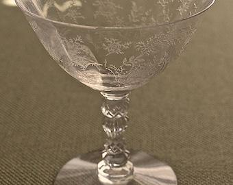 "Fostoria Glass Co. ""CHINTZ"" crystal Low Sherbet pair ca. 1940-77"