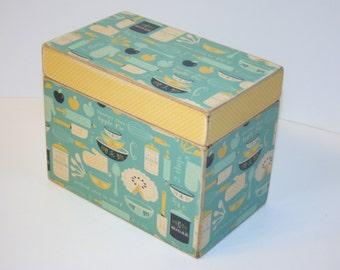 Recipe Box, Teal and Yellow Kitchen Print Box, Handmade 4x6 Wooden Recipe Box, Keepsake Box