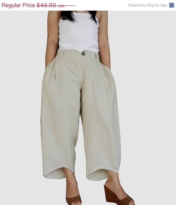 SALE25%OFF Harem Pant Casual Three Quarter Length Unique Design, Cotton Linen In Light Beige color. steampunk buy now online