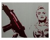 Madonna Painting Rebel Heart Art 12 x 16 Madonna Art Original Painting Pop Art Portrait Graffiti Inspired Spray Paint Acrylic Canvas