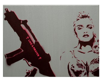 Madonna Painting Rebel Heart Art 12 x 16 Madonna Art Original Painting Pop Art Portrait Graffiti Inspired Spray Paint Acrylic Canvas