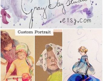 Turn your favorite Photograph into an original piece of Artwork, perfect gift. Deposit for Custom Portrait, 11x14