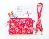 EpiPen Case with an Optional Adjustable Shoulder Strap, Medical ID Card, and a Carabiner - Red Flowers (Oilcloth)