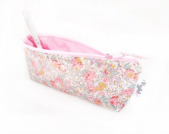 "Liberty of London Oilcloth Pencil Case / Makeup Pouch  -  ""Claire-Aude"" In Pink"