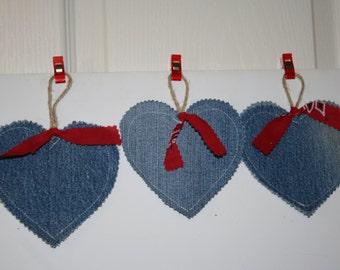 Denim Hearts set of 3 Christmas ornaments banner decorations twine loop bandana ribbon