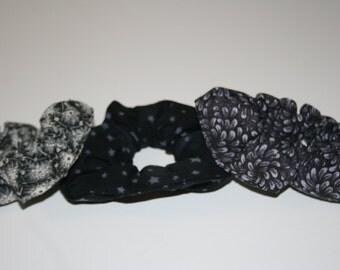 Scrunchie set of three black, gray, cream, stars, flowers, leaves