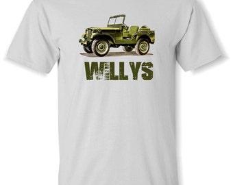 WILLYS JEEP Drawing T Shirt S,M,L,XL.