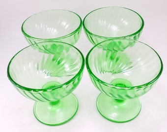 Fluorescent Green Glass Parfait Deserts, Footed Green Glass Deserts, Green Glass Sherbets, Glass Sherbets, Green Sherbets, Green Glass