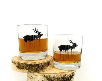 Elk Above Tree Line - Screen Printed Rock Glass - Set of Two 11oz. Tumbler Glasses