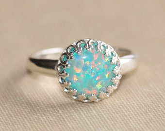 RARE Mint Seafoam Opal Ring,Sterling Silver Crown Setting Ring,Lab Created Opal Gemstone,Genuine Opal Ring,Opal Jewelry,October Birthstone