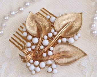 Vintage Gold Leaf Milk Glass Brooch Hair Comb,Bridal Hair Comb,Brushed Gold Leaves,Woodland,Wedding Headpiece,White Milk Glass,Reclaimed
