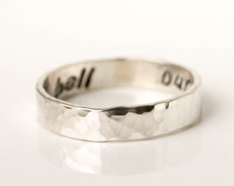 Silver wedding band, hammered sterling silver ring, engraved silver band, 925 secret message ring, hammered band, engravable silver ring