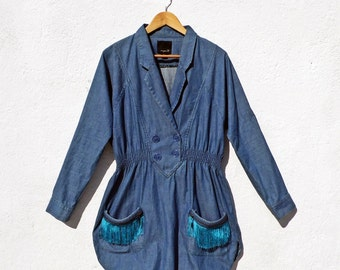 SALE // 90s Denim Dress Turquoise Dress Fringe Dress Shirt Dress Jean Dress Hippie Dress High Waist Dress Split Dress Summer Dress