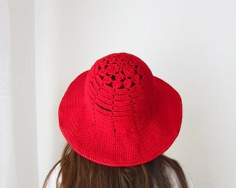 Boho Red Summer Hat Wide Brimmed Floppy Crochet Cotton Women Accessory Bohemian Cloche Sun Protection Beach Wear designed by dodofit on Etsy