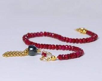 Ruby Bracelet by Agusha. Delicate Gemstone Bracelet. Dainty Ruby Stacking Bracelet. July Birthstone Bracelet