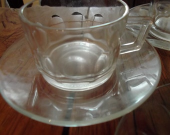 VINTAGE  GLASS ESPRESSO cups and saucers, set of 6, French, barista