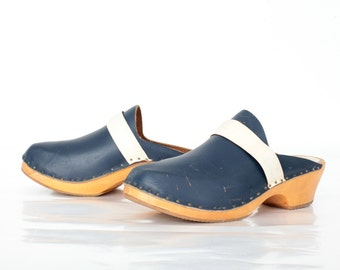 Vintage Swedish Clogs in Navy Blue Leather and Wood