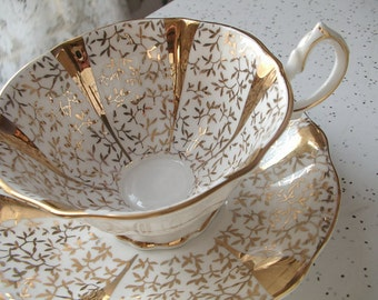 Vintage 1950's Bone China tea cup and saucer, Queen Anne tea cup, Gold tea cup, Gold and white English tea cup, antique teacup, gold teacup