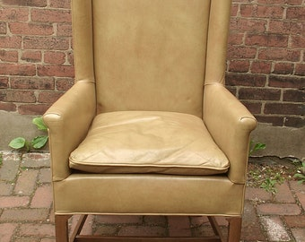 Vintage 1960's Danish Modern style Chair, 1967, Tan Taupe leather chair, Mid Century Modern wingback chair, Danish furniture,