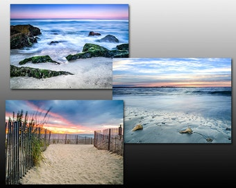 Beach Sunrise Print Collection, Set of Three 5x7 inch Prints, Seascape themed photography, Buy as a set and save