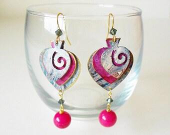 Blue & Fuchsia Pink Marble Finish Spade Dangle Earrings
