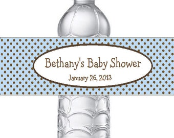 20 Personalized Blue & Brown Polka Dots Baby Shower Water Bottle Labels - Baby Blue Polka Dot Stickers for Baby Boy Shower Favor
