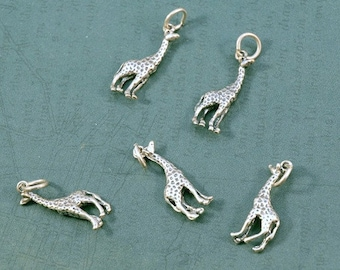 Sterling Silver Giraffe Charm - 8x12mm - Sold Per Piece - CR3GF